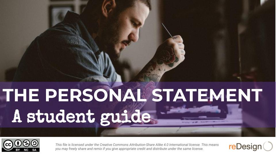 Personal Statement: A Student Performance Task Guide